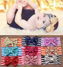 New Baby Infant Girls Hairband Sequined Bow Headband Turban Knot HairAccessories