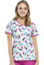 "Cherokee ""Flying Hearts"" Breast Cancer Awareness V-neck Scrubs Top 2687C FLYH"