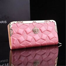 Women's Patent Leather Crown Long Zip Wallet Phone Card Money Case Purse Clutch