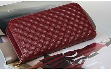 Ladies Genuine Leather Plaid Print Long Wallet Purse Card Holder Handbag Clutch