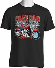 Biker T Shirt American Freedom Motorcycle Independence Day July Free Shipping