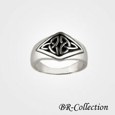 Sterling Silver Celtic Ring with Trinity Knots - Irish Jewelry