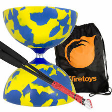 Blue/Yellow Jester Diabolo & Carbon Fibre Diablo Sticks Set with FT Bag