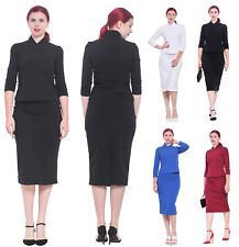 MARYCRAFTS WOMEN'S FITTED BODYCON PENCIL WORK OFFICE BUSINESS SKIRT SUIT SET