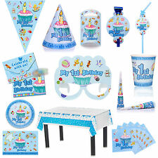 """BLUE """"My Ist Birthday""""  PARTY TABLEWARE PLATES CUPS NAPKINS TABLECOVER BIRTHDAY"""