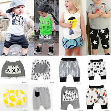 Kids Boys Girls Clothes Harem Pants Trousers Toddlers Shorts Sports Bottoms 0-7Y