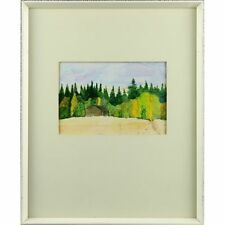 Cabin by The Wood Modern Sun Yellow Spring Green Landscape Watercolour Painting