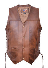 10 Pockets Mens Brown Vest in Premium Buffalo Leather  AL 2232 Allstate Leather