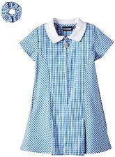 BLUE/WHITE GINGHAM CHECK SCHOOL SUMMER DRESS AND FREE SCRUNCHIE