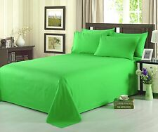Tache 4 PC 100% Cotton Solid Lime Flat and Fitted Bed Sheet and Pillowcase Set,