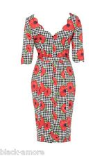 Eloise Pencil Dress Poppy Petal Print Rockabilly Vintage Retro 50s