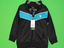 NWT U.S. Polo Assn Boy's Youth Size 3T Black/Teal Full Zip Long Slv Jacket NEW