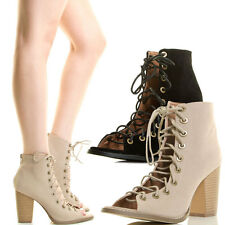 Womens Strappy Corset Lace Up Ankle Booties Peep Open Toe Chunky Block High Heel