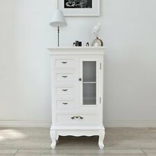 White Wooden Display Cabinet with 5 Drawers 2 Shelves Lounge Furniture Storage