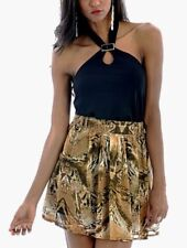 New Womens Ladies Floaty Chiffon Snake Print Skater Mini Party Skirt