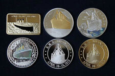 6 X RMS TITANIC WHITE STAR LINER BOAT SHIP 1912 COINS BAR SILVER & GOLD PLATED