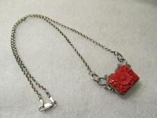 Vintage Italy Carved Cinnabar Flower 10.2g - Sterling Silver Necklace