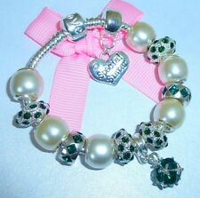 LADIES/GIRLS CHARM BRACELET PERSONALISE PEARL/GREEN WEDDING/BIRTHSTONE MAY