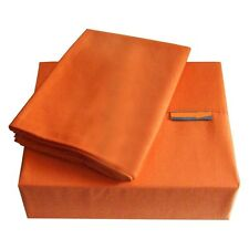 NEW 800TC ORANGE SOLID EXTRA DEEP SHEET SET/FITTED SHEET 100%COTTON ALL SIZE