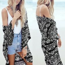 Fashion Women Boho Floral Kimono Shirt Cardigan Long Beach Cover Up Tops Blouse