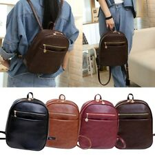 Vintage Small Backpack Womens Korean PU Leather Handbag Schoolbag Shoulder Bag