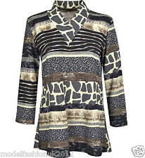 Body2Body Ladies Long Sleeve Animal Print Viscose Tops Size 12-22