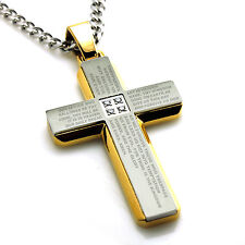 Stainless Steel Our Father Lords Prayer Religious Gold Silver Cross CZ Necklace