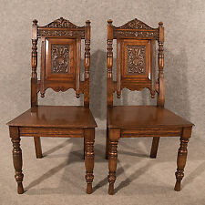 Antique Pair Oak Hall Side Dining Chairs Quality Carved English Victorian c1890