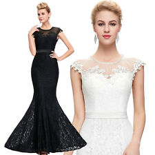 Mermaid Formal Wedding Bridesmaid Long Prom Dress Lace Evening Cocktail Dresses