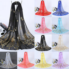 Fashion Women's Long Soft Wrap Lady Shawl Peacock Print Stole Chiffon Scarf EP