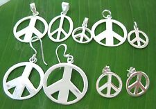 REAL 925 sterling silver plain Peace sign pendant- studs  - hook earrings