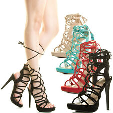 Strappy Loop Cage Tassel Wrap Lace Up Open Toe High Heel Platform Pump Sandal US