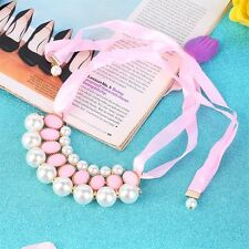 Vintage Women Imitation Pearls Crystal Ribbon Jewelry Necklace Party Decor BN