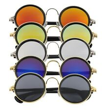 Hot Women Men Unisex Fashion Vintage Retro Round Mirror Lens Sunglasses BN
