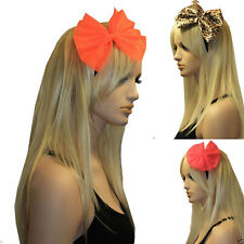 LADIES GIANT NET BOW SATIN ALICE HAIR BAND HEADBAND 80's HEN PARTY FANCY DRESS