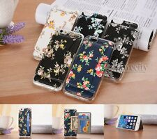 Flower Magnetic Wallet Clear Bumper Leather Stand Case Cover For Apple iPhone