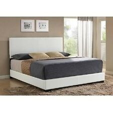 White Upholstered Platform Bed Frame w Headboard Leather Full Queen King Size