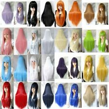 New 70 cm/28 inch Womens Ladies Long Straight Cosplay Wig Full Wigs Multi-Colors