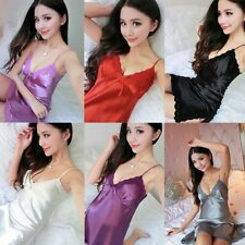 Sexy Satin Lace Lingerie Pajamas Womens Ladies Sleepwear Nightgown Night Dress