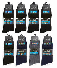 Mens 12 Pairs 100% Cotton Rich Non Elastic Mens Rib Socks Size UK 6-11