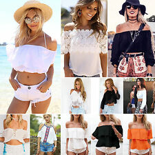 Summer Women Off Shoulder Casual Tank Top Vest Blouse Beach Cami Crop Tops Shirt