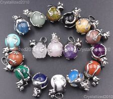 Natural Gemstones Frog Prince Ball Reiki Chakra Healing Beads Pendant Necklaces
