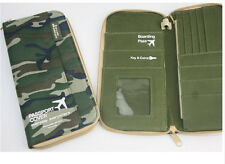 Camo Passport Holder Cover Case Travel Passport Credit Card ID Holder Wallet Zip