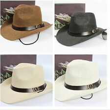 Summer Women Men Trilby Cowboy Jazz Fedora Straw Panama Wide Brim Beach Sun Hat