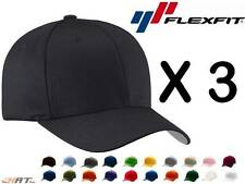 3-Pack New Flexfit Hat Baseball Cap Fitted Black L/XL S/M Mix and Match