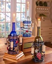 Wine Bottle Holder & Cork Candles ~ Americana or Wine Grapes ~ Great Gift Decor