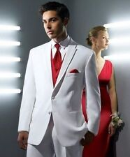 White Lapel Groom Suits Tuxedo Men Formal Wedding Party Suit Custom Made Suits