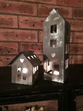 Vintage House Candle Tea Light Holder Shabby Zinc Metal Heart Design Lantern