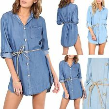 Womens Front Pocket High Low Belted Denim Shirt Ladies Collared Button Dress