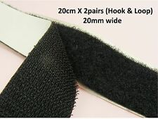 20CM x 2pairs BLACK Self ADHESIVE Hook & LOOP Fastener TAPE 10mm 20mm 30mm 50mm